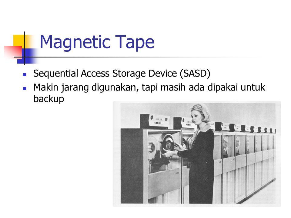 Magnetic Tape SSequential Access Storage Device (SASD) MMakin jarang digunakan, tapi masih ada dipakai untuk backup