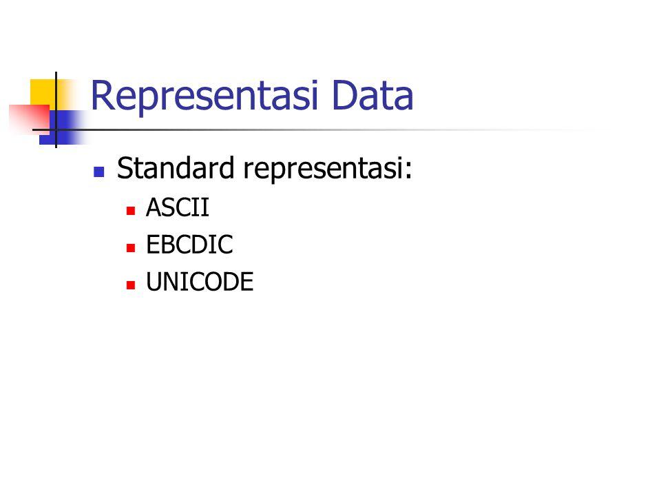 Representasi Data  Standard representasi:  ASCII  EBCDIC  UNICODE