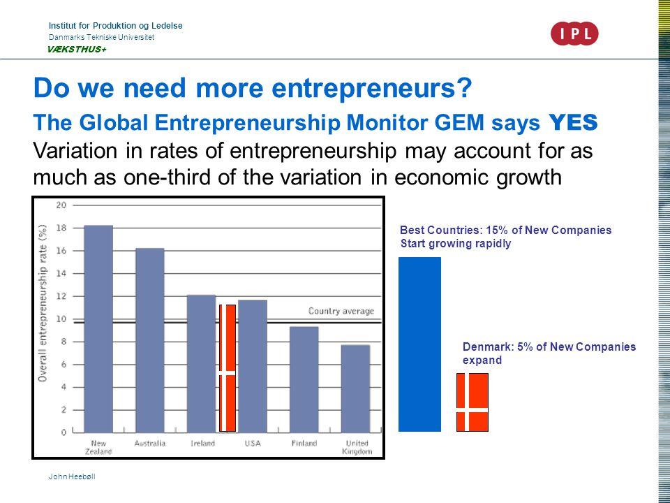 Institut for Produktion og Ledelse Danmarks Tekniske Universitet John Heebøll VÆKSTHUS+ Do we need more entrepreneurs? The Global Entrepreneurship Mon