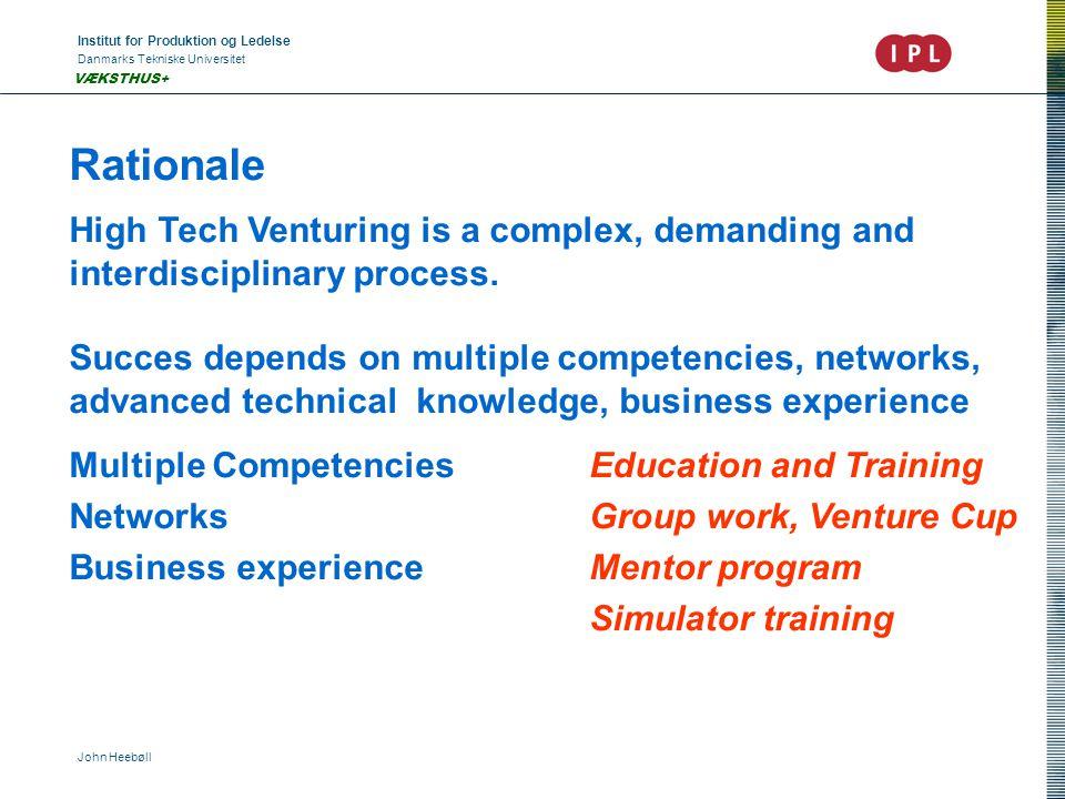 Institut for Produktion og Ledelse Danmarks Tekniske Universitet John Heebøll VÆKSTHUS+ Rationale High Tech Venturing is a complex, demanding and interdisciplinary process.