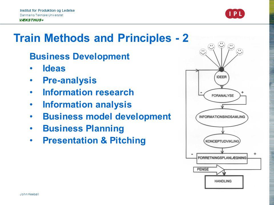 Institut for Produktion og Ledelse Danmarks Tekniske Universitet John Heebøll VÆKSTHUS+ Train Methods and Principles - 2 Business Development •Ideas •