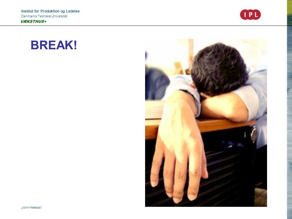 Institut for Produktion og Ledelse Danmarks Tekniske Universitet John Heebøll VÆKSTHUS+ BREAK!