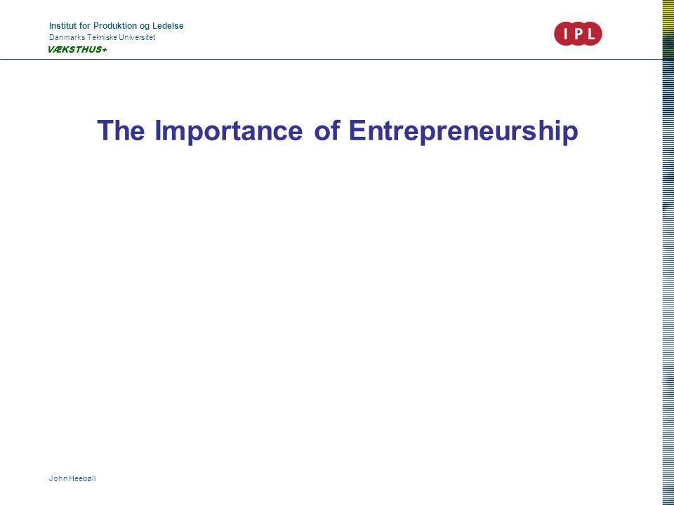 Institut for Produktion og Ledelse Danmarks Tekniske Universitet John Heebøll VÆKSTHUS+ Do We need more entrepreneurs.