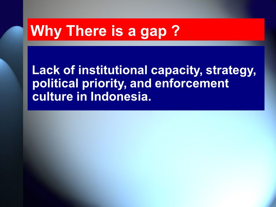 Why There is a gap ? Lack of institutional capacity, strategy, political priority, and enforcement culture in Indonesia.