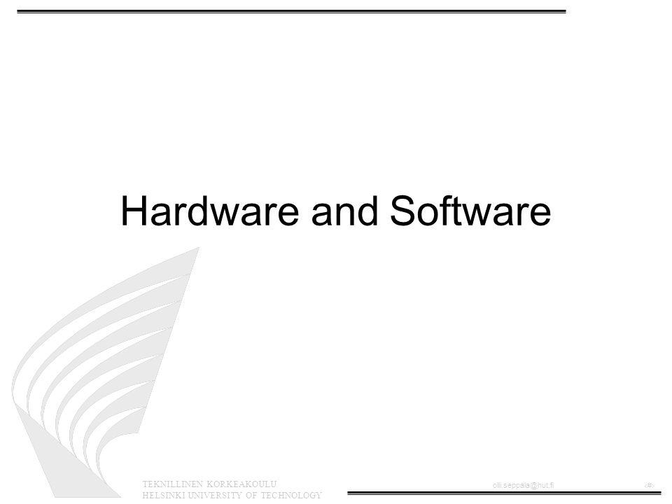 TEKNILLINEN KORKEAKOULU HELSINKI UNIVERSITY OF TECHNOLOGY olli.seppala@hut.fi‹#› FPGA •Field Programmable Gate Array •Recofigurable logic device •Can be reprogrammed in a short time in- circuit •Xilinx FPGA brochure http://www.xilinx.com/partinfo/ds031- 1.pdf •Xilinx FPGA details http://www.xilinx.com/partinfo/ds031-2.pdf
