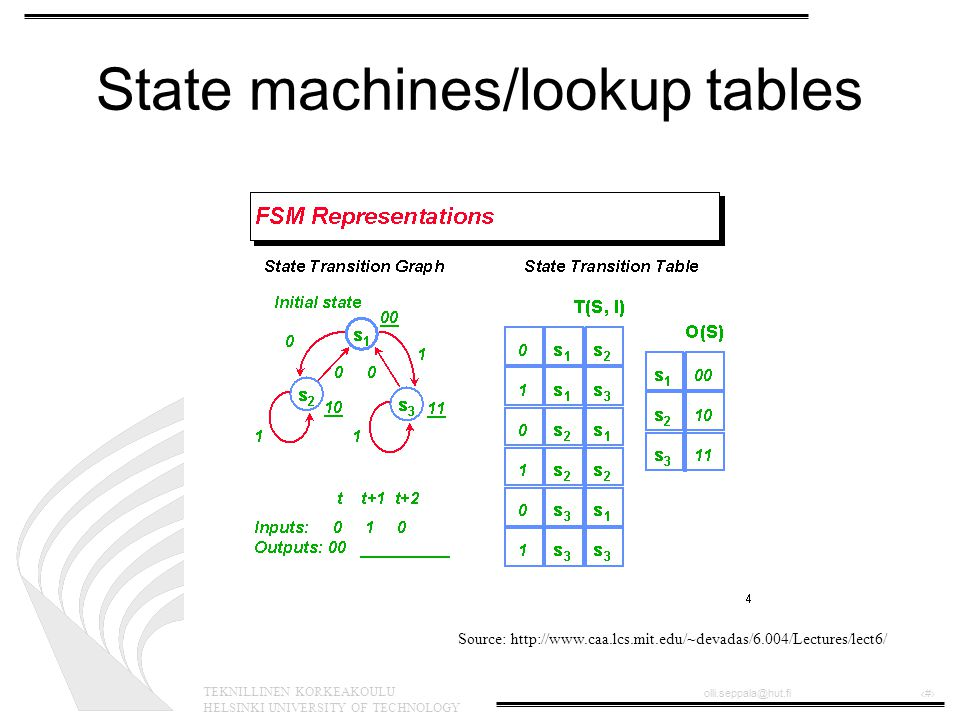 TEKNILLINEN KORKEAKOULU HELSINKI UNIVERSITY OF TECHNOLOGY olli.seppala@hut.fi‹#› State machines/lookup tables Source: http://www.caa.lcs.mit.edu/~devadas/6.004/Lectures/lect6/