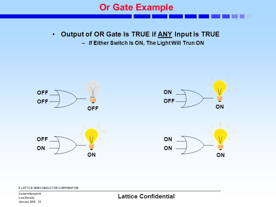 © LATTICE SEMICONDUCTOR CORPORATION Uudet mikropiirit Low Density January 2009 12 Lattice Confidential OFF ON OFF ON Or Gate Example •Output of OR Gate Is TRUE if ANY Input is TRUE –If Either Switch Is ON, The Light Will Trun ON ON