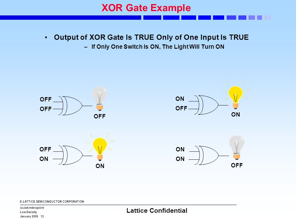 © LATTICE SEMICONDUCTOR CORPORATION Uudet mikropiirit Low Density January 2009 13 Lattice Confidential XOR Gate Example •Output of XOR Gate Is TRUE On