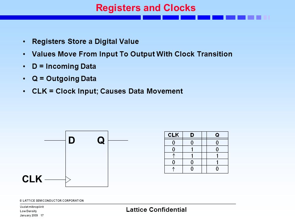 © LATTICE SEMICONDUCTOR CORPORATION Uudet mikropiirit Low Density January 2009 17 Lattice Confidential Registers and Clocks •Registers Store a Digital