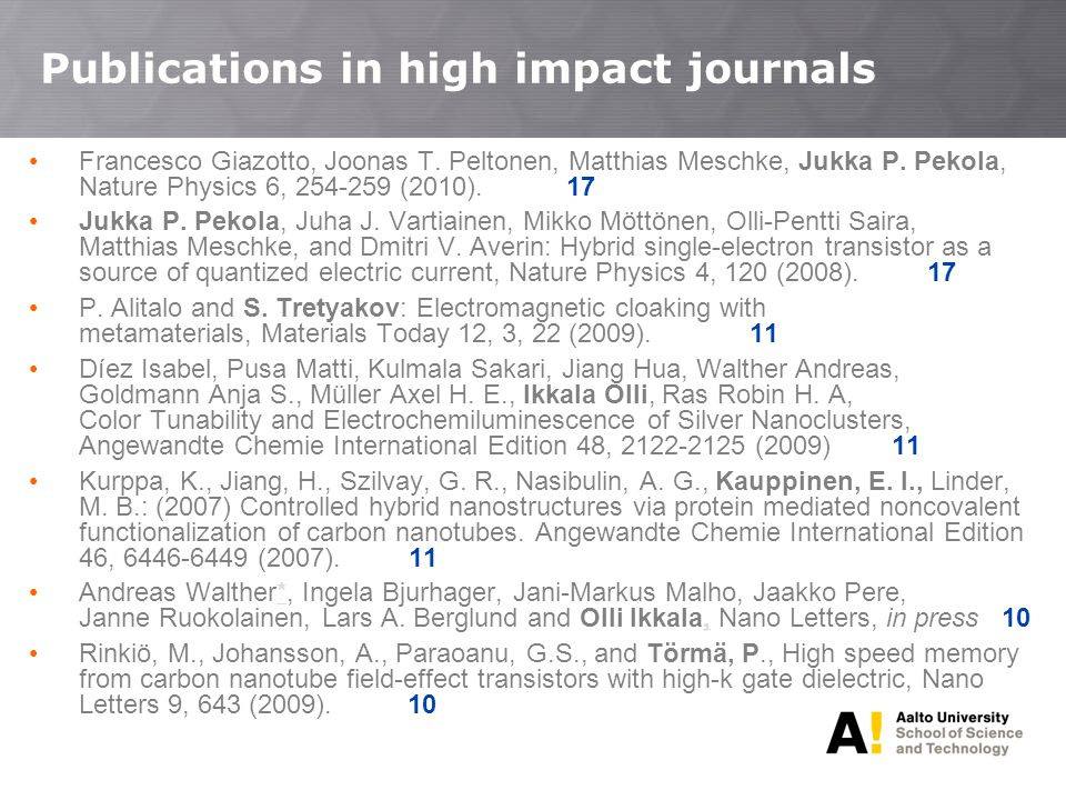 Publications in high impact journals • Francesco Giazotto, Joonas T.
