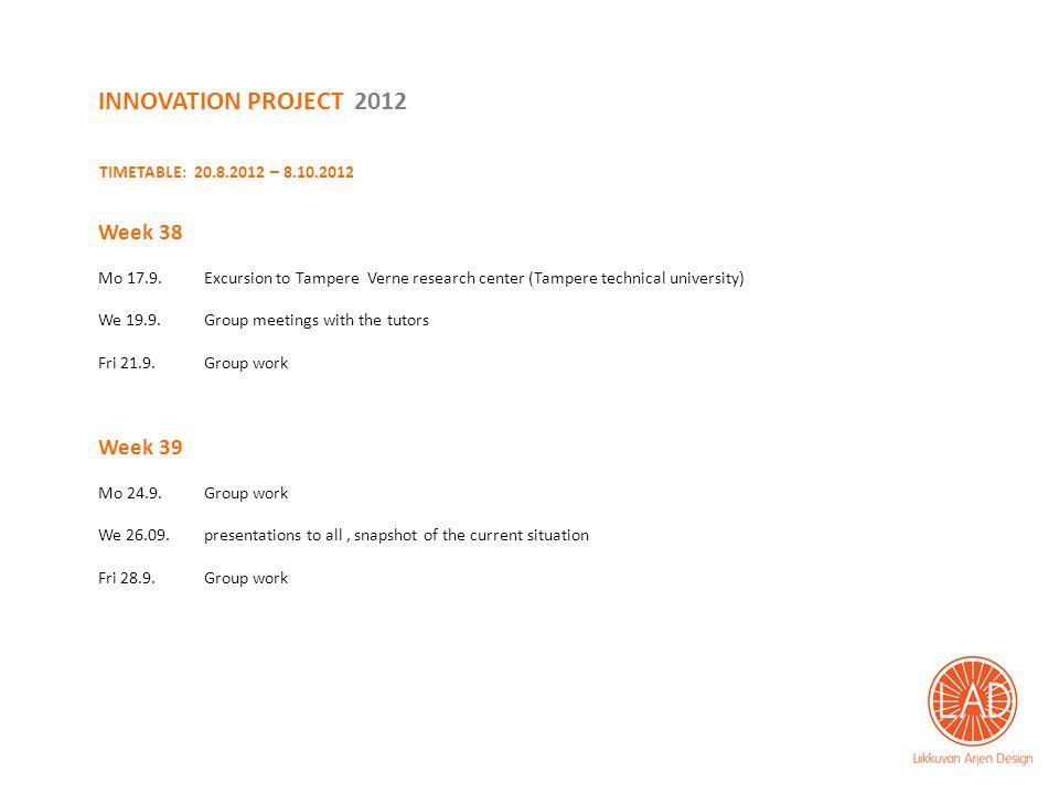 TIMETABLE: 20.8.2012 – 8.10.2012 Week 38 Mo 17.9.