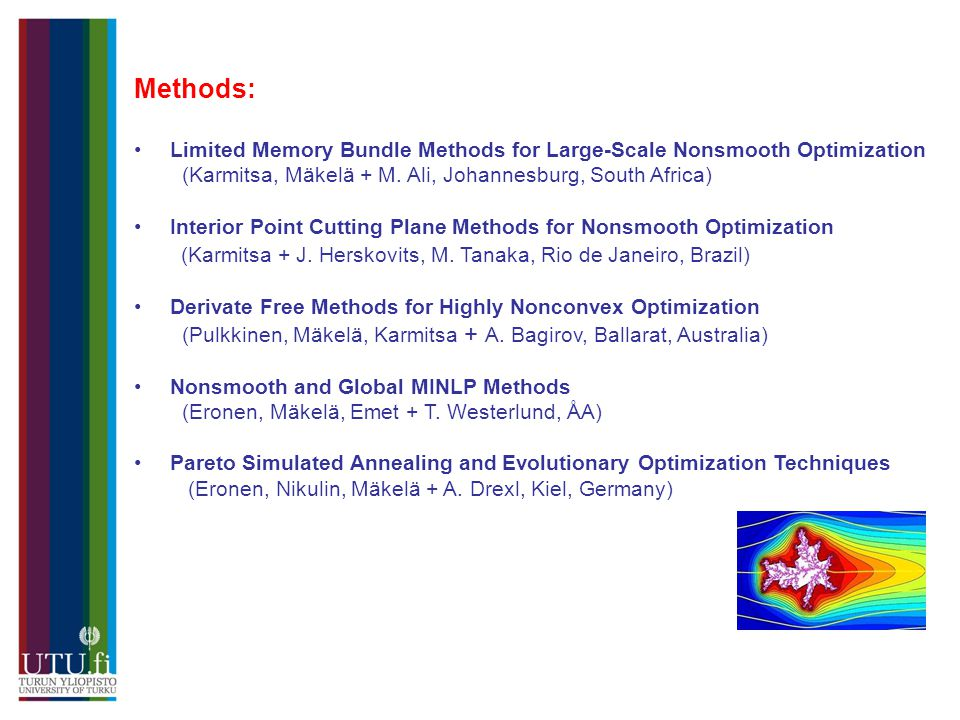 Methods: •Limited Memory Bundle Methods for Large-Scale Nonsmooth Optimization (Karmitsa, Mäkelä + M.