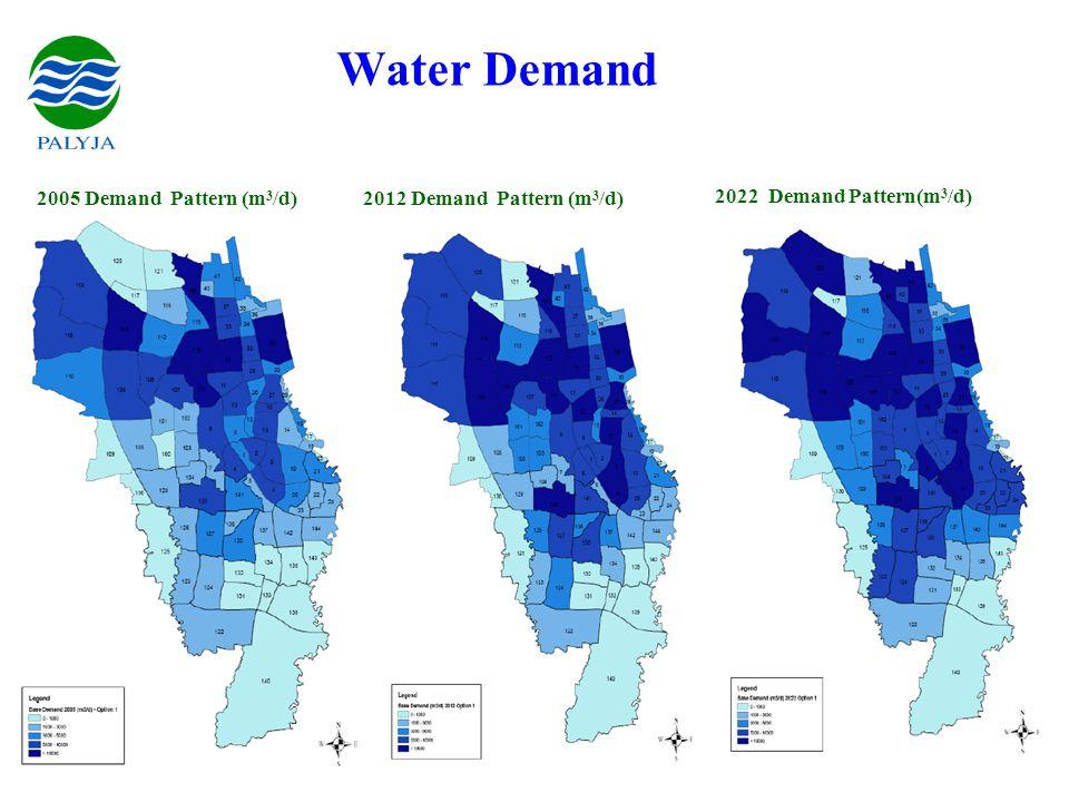 PhW / Palyja / June 07 Water Demand 2005 Demand Pattern (m 3 /d)2012 Demand Pattern (m 3 /d) 2022 Demand Pattern(m 3 /d)