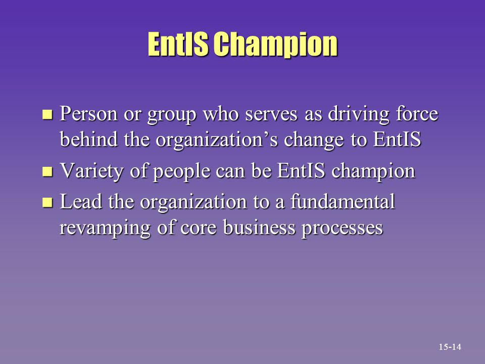 EntIS Champion n Person or group who serves as driving force behind the organization's change to EntIS n Variety of people can be EntIS champion n Lead the organization to a fundamental revamping of core business processes 15-14