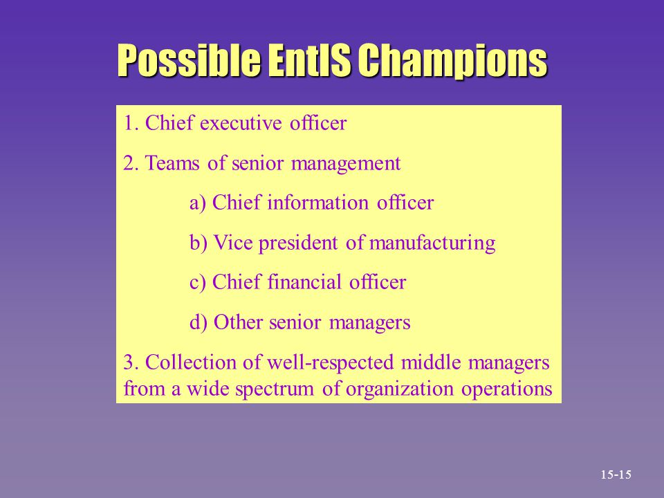 Possible EntIS Champions 1.Chief executive officer 2.