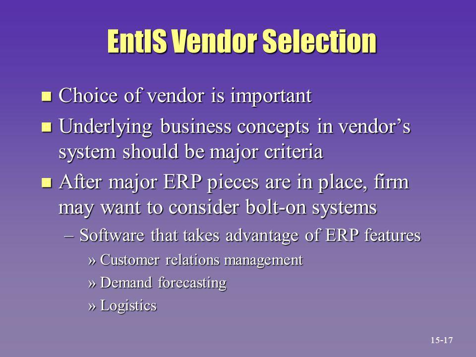 EntIS Vendor Selection n Choice of vendor is important n Underlying business concepts in vendor's system should be major criteria n After major ERP pi