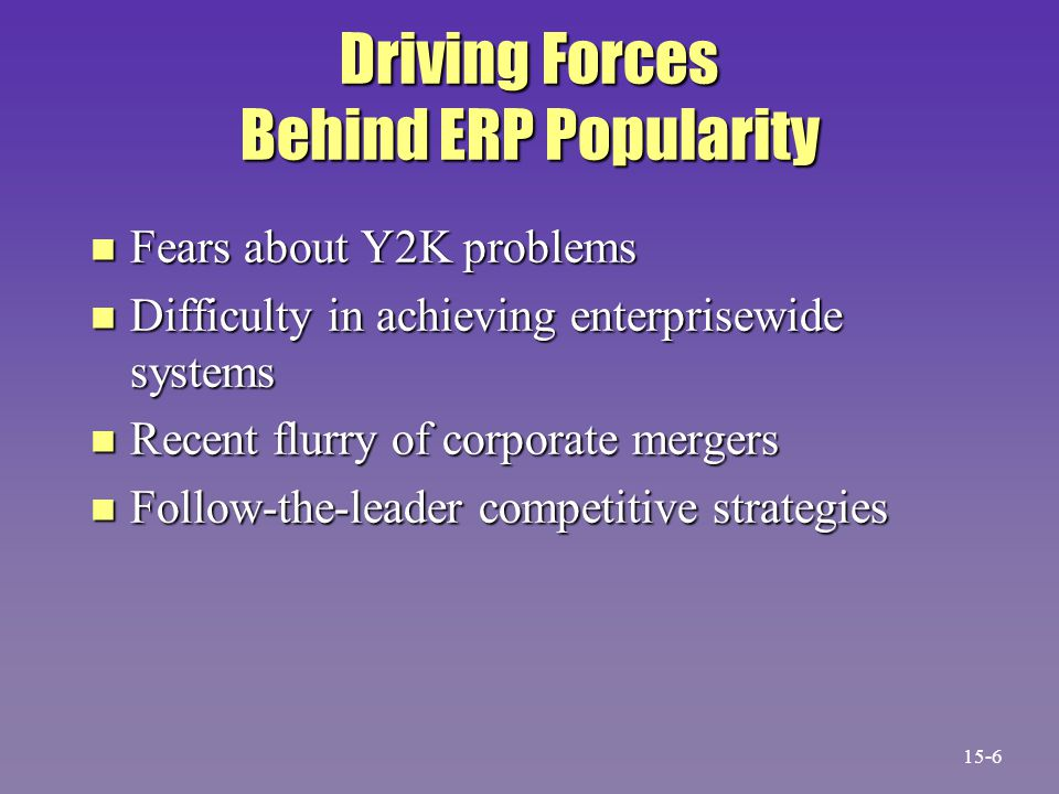 Driving Forces Behind ERP Popularity n Fears about Y2K problems n Difficulty in achieving enterprisewide systems n Recent flurry of corporate mergers n Follow-the-leader competitive strategies 15-6