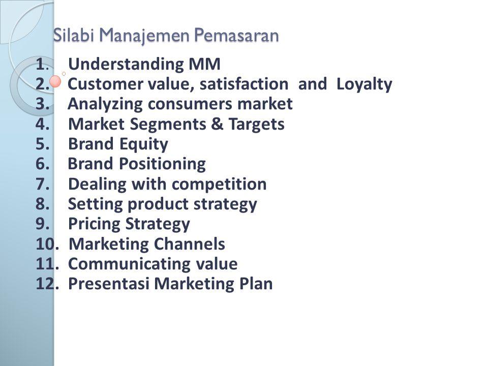 Silabi Manajemen Pemasaran 1. Understanding MM 2. Customer value, satisfaction and Loyalty 3. Analyzing consumers market 4. Market Segments & Targets