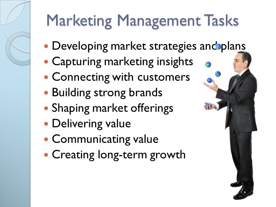  Developing market strategies and plans  Capturing marketing insights  Connecting with customers  Building strong brands  Shaping market offering