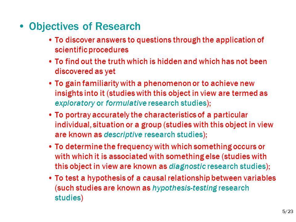 5/23 •Objectives of Research •To discover answers to questions through the application of scientific procedures •To find out the truth which is hidden