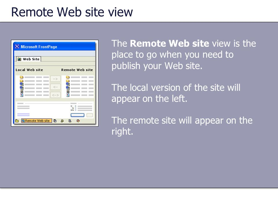 Remote Web site view The Remote Web site view is the place to go when you need to publish your Web site. The local version of the site will appear on