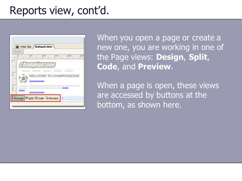 Reports view, cont'd. When you open a page or create a new one, you are working in one of the Page views: Design, Split, Code, and Preview. When a pag