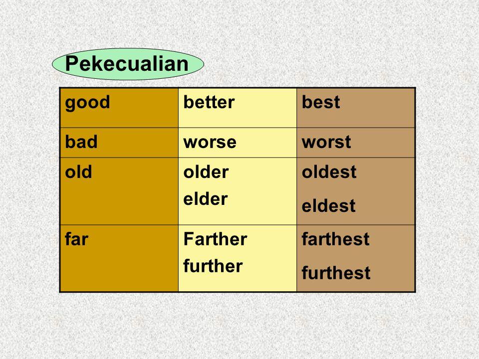 Pekecualian goodbetterbest badworseworst oldolder elder oldest eldest farFarther further farthest furthest
