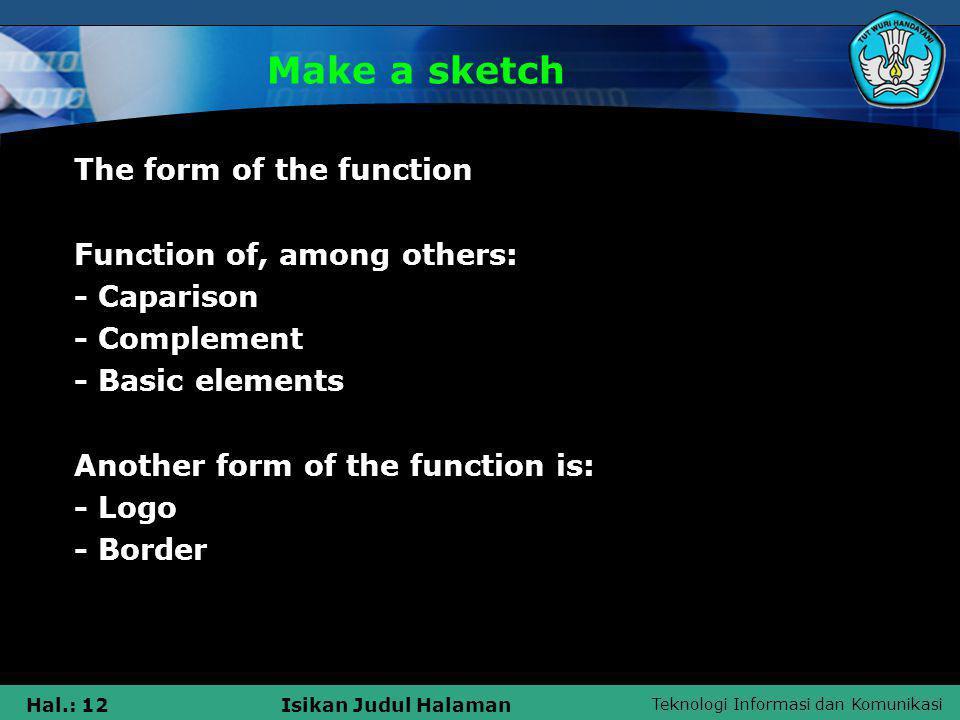 Teknologi Informasi dan Komunikasi Hal.: 12Isikan Judul Halaman Make a sketch The form of the function Function of, among others: - Caparison - Comple