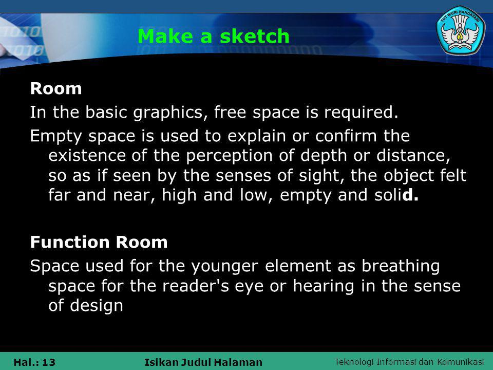 Teknologi Informasi dan Komunikasi Hal.: 13Isikan Judul Halaman Make a sketch Room In the basic graphics, free space is required. Empty space is used
