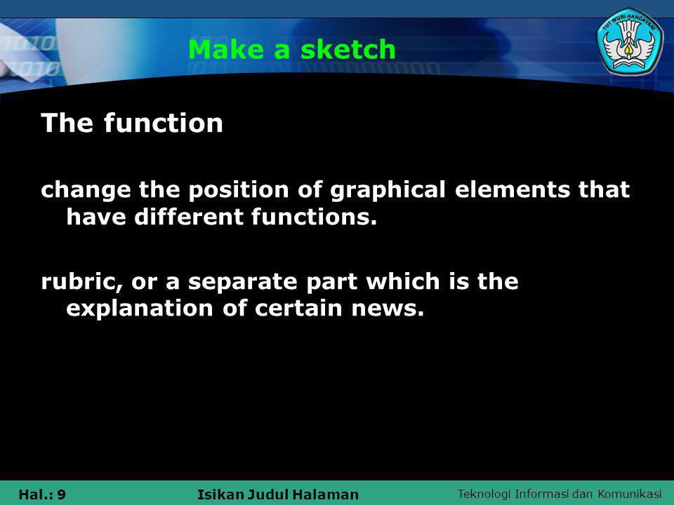 Teknologi Informasi dan Komunikasi Hal.: 9Isikan Judul Halaman Make a sketch The function change the position of graphical elements that have different functions.