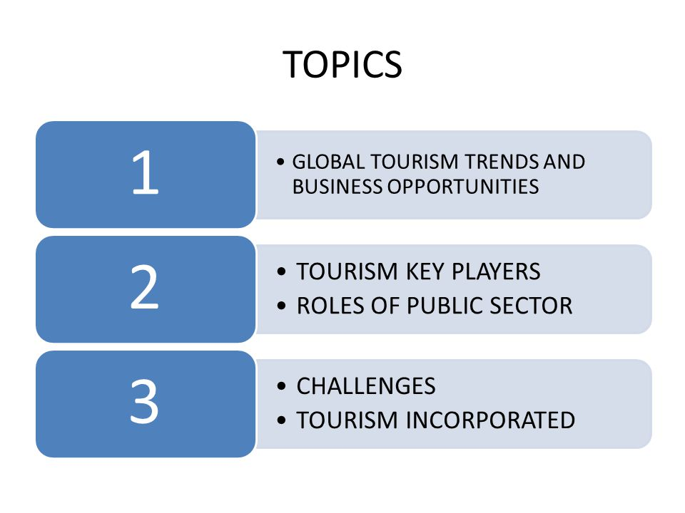 TOPICS •GLOBAL TOURISM TRENDS AND BUSINESS OPPORTUNITIES 1 •TOURISM KEY PLAYERS •ROLES OF PUBLIC SECTOR 2 •CHALLENGES •TOURISM INCORPORATED 3