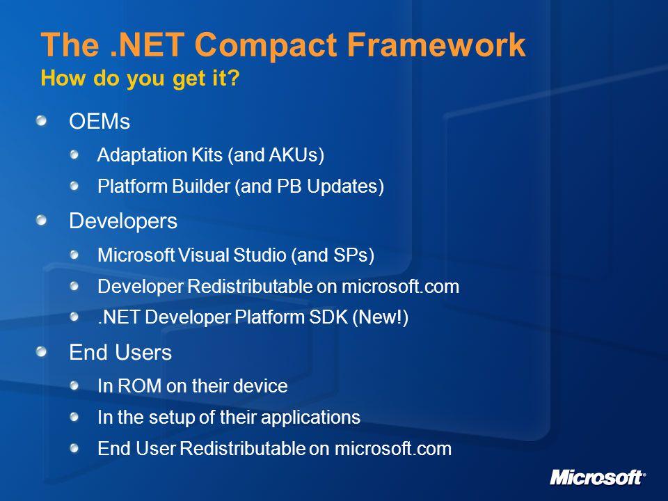 Windows Mobile 5 ja Compact Framework 2.0 uutuudet Kehittäjän näkökulmasta