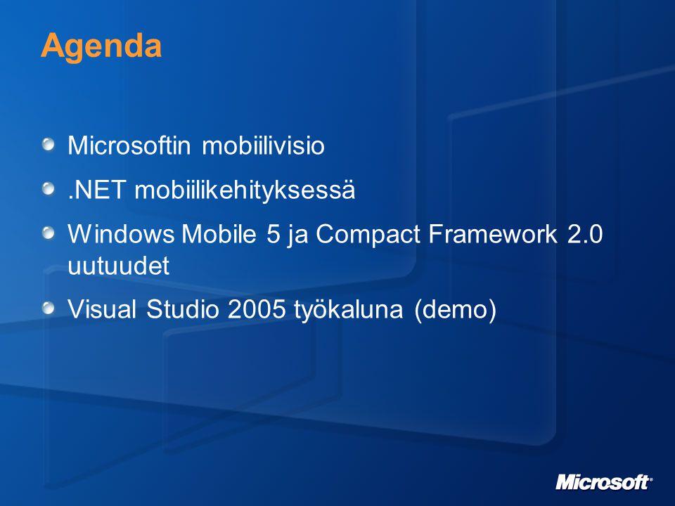 Microsoftin mobiilivisio Pääpaino bisnessovelluksissa Mobiilisovellukset eivät ole saarekkeita Vaan tyypillisesti laajemman taustajärjestelmän laajennoksia Esim Pocket Outlook Yhtenäinen kehitysympäristö Mobiiliohjelmointi samanlaista kuin kaikki muukin (Win, Web, jne) Kun osaat yhden, osaat kaikki