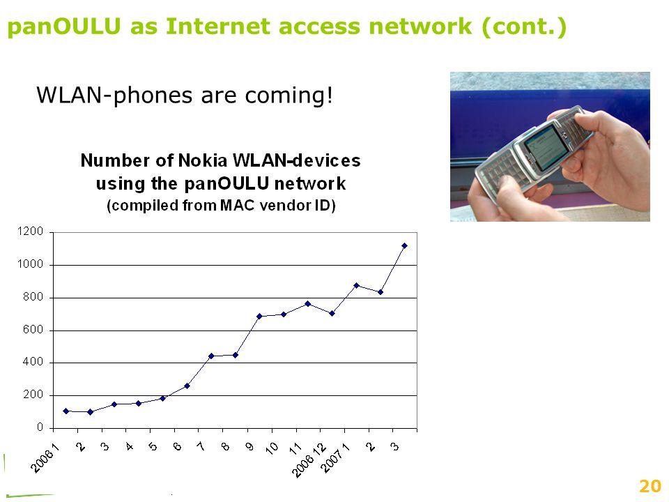 20 Suomen Seutuverkot ry:n kevätseminaari 3-4.4.2007, Pori panOULU as Internet access network (cont.) WLAN-phones are coming!