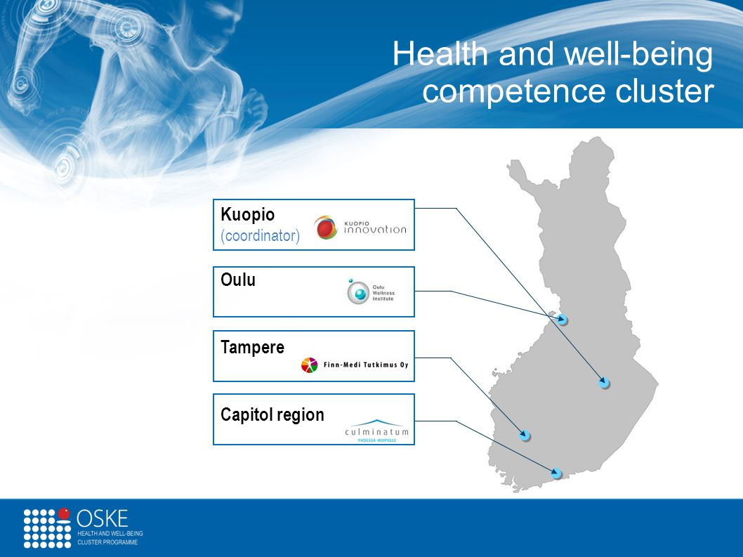 Health and well-being competence cluster Kuopio (coordinator) Oulu Tampere Capitol region