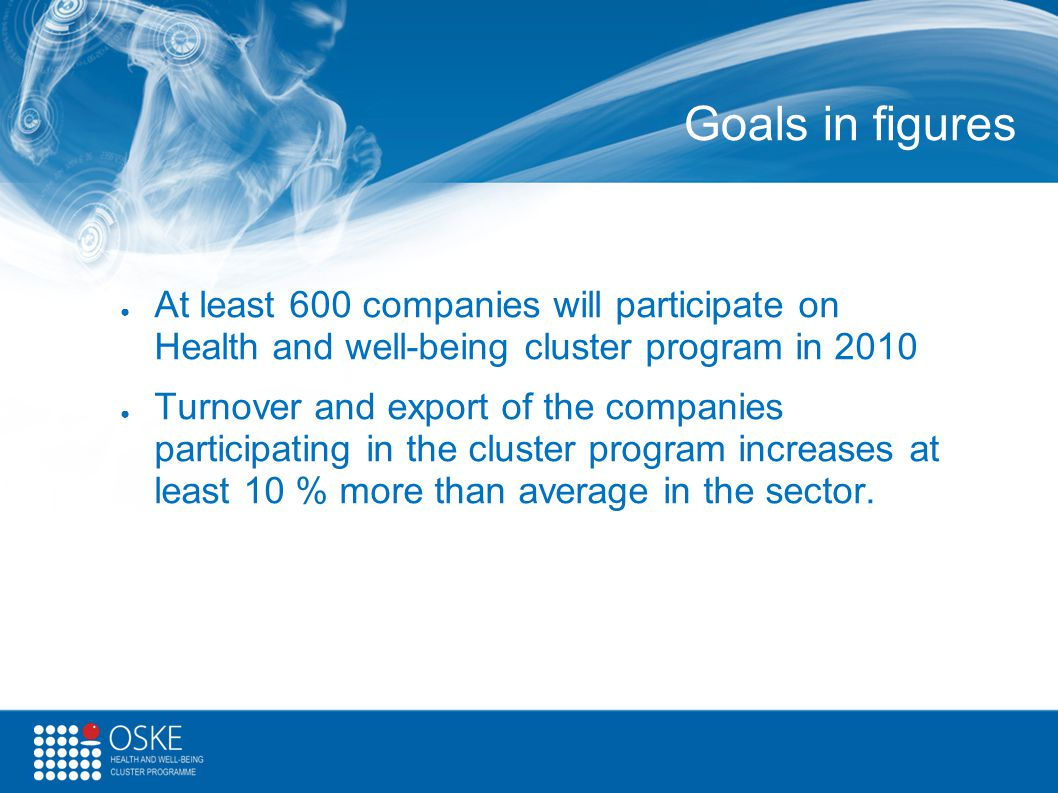 Goals in figures ● At least 600 companies will participate on Health and well-being cluster program in 2010 ● Turnover and export of the companies par