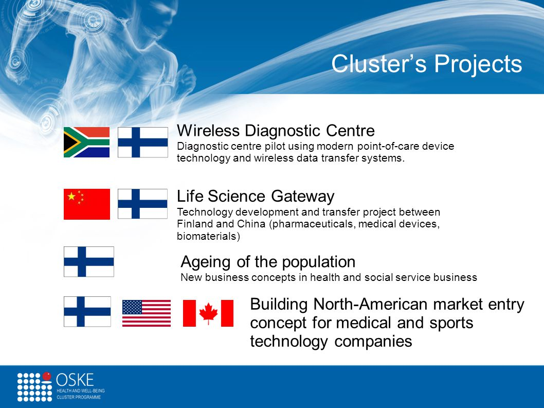 Cluster's Projects Wireless Diagnostic Centre Diagnostic centre pilot using modern point-of-care device technology and wireless data transfer systems.