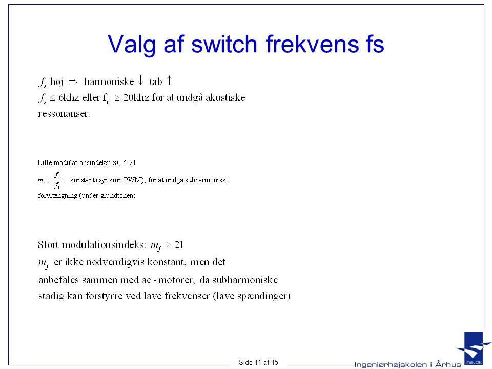 Side 11 af 15 Valg af switch frekvens fs
