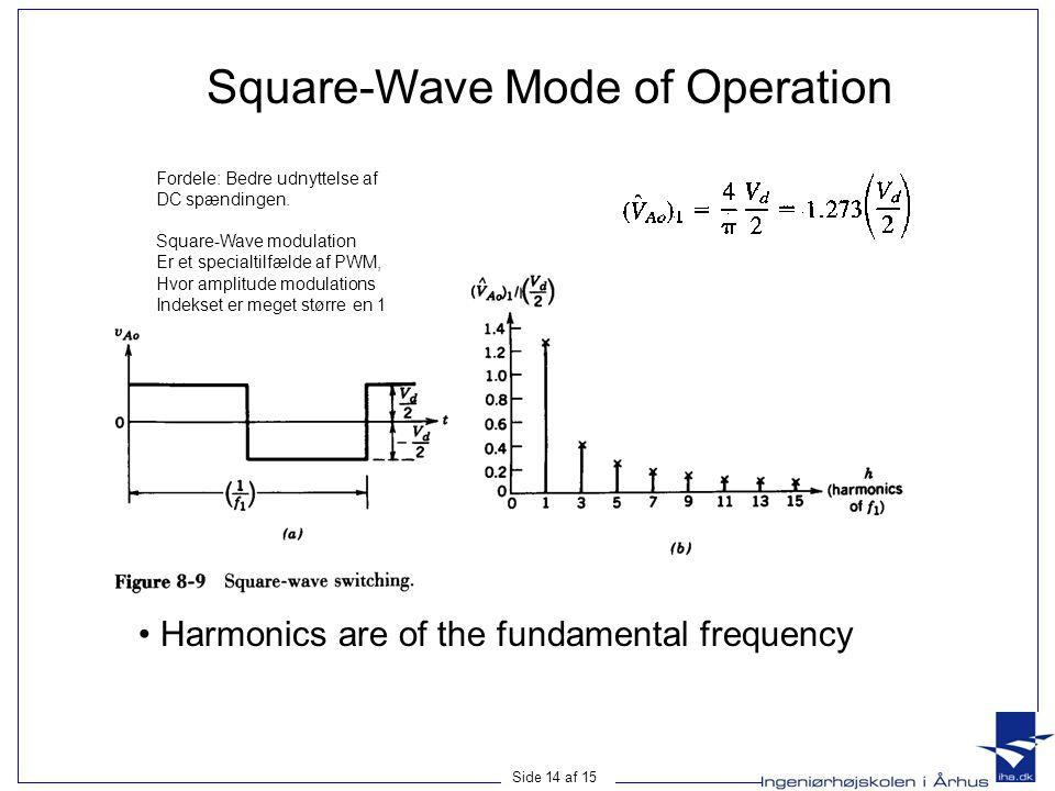 Side 14 af 15 Square-Wave Mode of Operation • Harmonics are of the fundamental frequency Fordele: Bedre udnyttelse af DC spændingen. Square-Wave modul