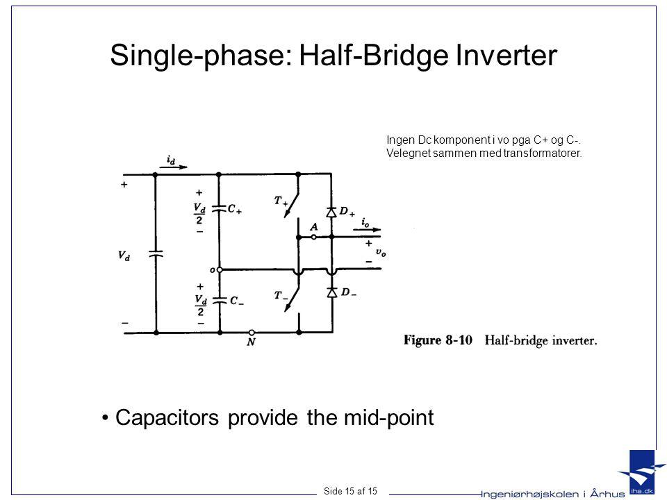 Side 15 af 15 Single-phase: Half-Bridge Inverter • Capacitors provide the mid-point Ingen Dc komponent i vo pga C+ og C-. Velegnet sammen med transfor