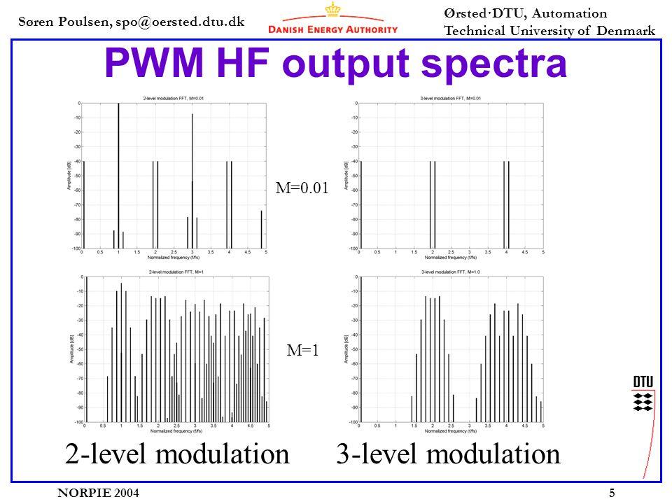 Søren Poulsen, spo@oersted.dtu.dk Ørsted·DTU, Automation Technical University of Denmark NORPIE 20045 PWM HF output spectra 2-level modulation 3-level modulation M=0.01 M=1