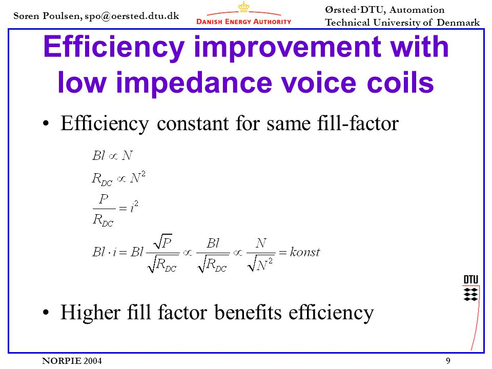 Søren Poulsen, spo@oersted.dtu.dk Ørsted·DTU, Automation Technical University of Denmark NORPIE 20049 Efficiency improvement with low impedance voice coils •Efficiency constant for same fill-factor •Higher fill factor benefits efficiency