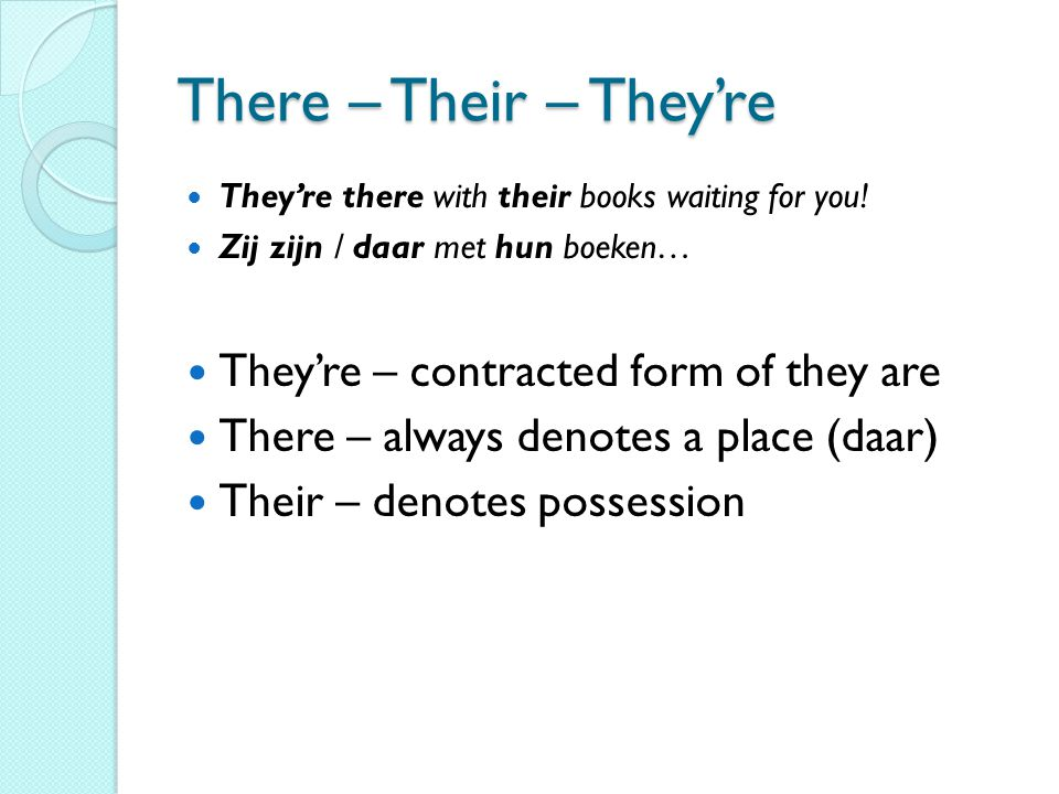 There – Their – They're  They're there with their books waiting for you!  Zij zijn / daar met hun boeken…  They're – contracted form of they are 