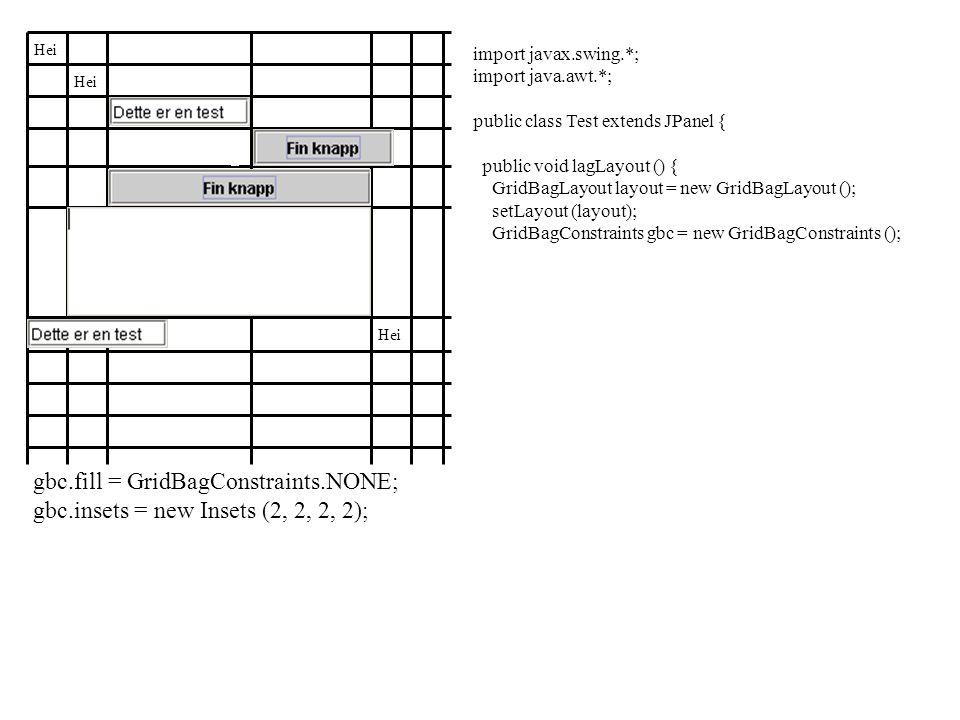 Hei gbc.fill = GridBagConstraints.NONE; gbc.insets = new Insets (2, 2, 2, 2); import javax.swing.*; import java.awt.*; public class Test extends JPanel { public void lagLayout () { GridBagLayout layout = new GridBagLayout (); setLayout (layout); GridBagConstraints gbc = new GridBagConstraints ();