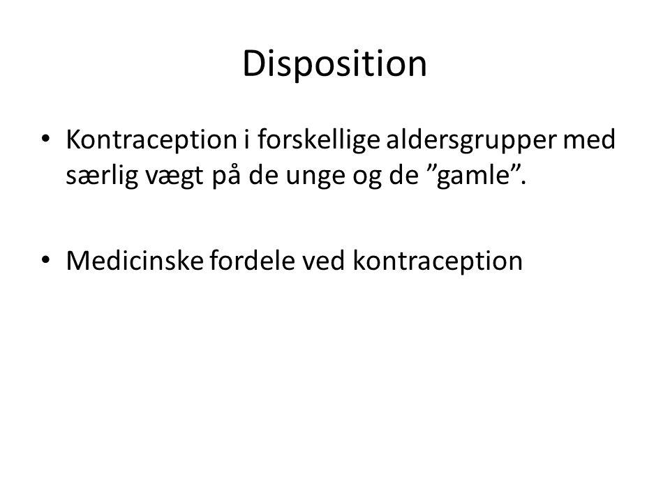 Disposition • Kontraception i forskellige aldersgrupper med særlig vægt på de unge og de gamle .