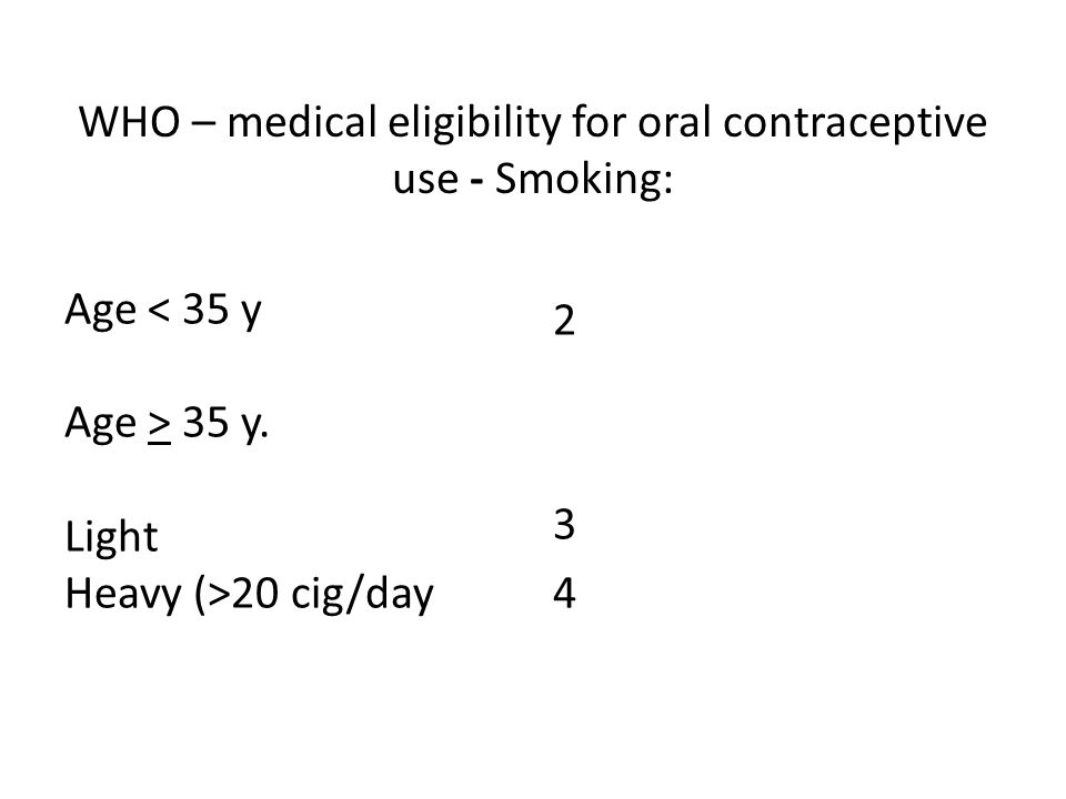 WHO – medical eligibility for oral contraceptive use - Smoking: Age < 35 y Age > 35 y.