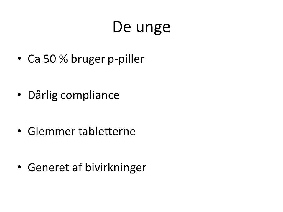 De unge • Ca 50 % bruger p-piller • Dårlig compliance • Glemmer tabletterne • Generet af bivirkninger