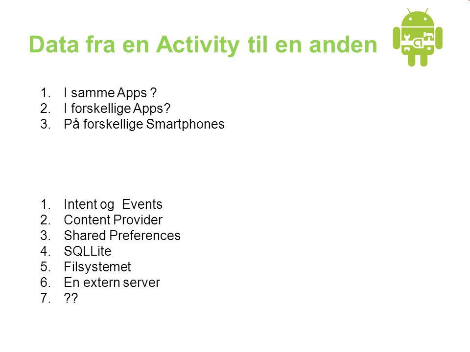 Data fra en Activity til en anden 1.Intent og Events 2.Content Provider 3.Shared Preferences 4.SQLLite 5.Filsystemet 6.En extern server 7.?.