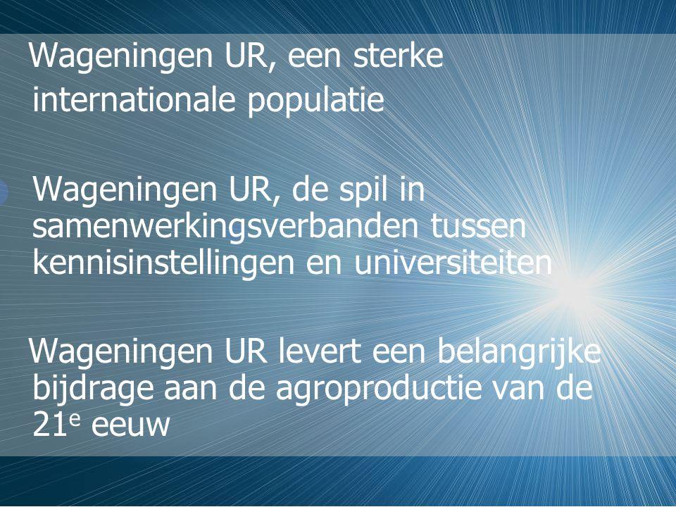 Wageningen UR, een sterke internationale populatie Wageningen UR, de spil in samenwerkingsverbanden tussen kennisinstellingen en universiteiten Wageningen UR levert een belangrijke bijdrage aan de agroproductie van de 21 e eeuw