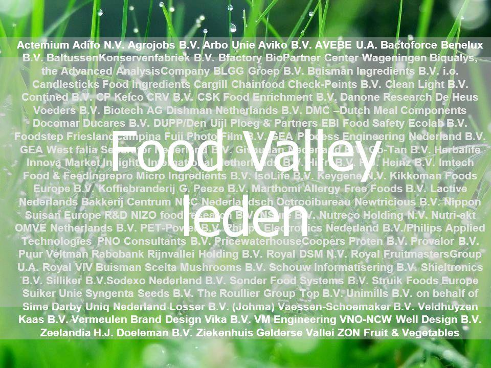 Match bedrijven & kennisinstellingen Support innovatieprojecten Stimuleer development spin-offs & start-ups Promoot Food Valley, Europees kennishart in agrifood